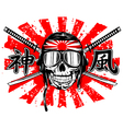 skull in pilots helmet and sword vector image vector image