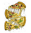 slice pizza with cheese yummy italian vector image vector image