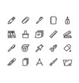 stationery line icons school and office supplies vector image vector image