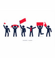 stick figures of sport fans cheering team vector image vector image