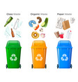 trash and recycling set vector image vector image