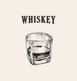 whiskey glass hand drawn drink vector image vector image
