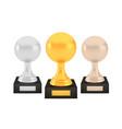 winner sphere awards set gold silver bronze vector image vector image