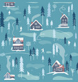 winter snowy landscape seamless pattern vector image
