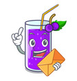 with envelope glass grape juice on character table vector image