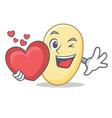 with heart soy bean mascot cartoon vector image vector image