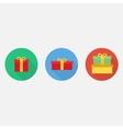 Flat gift box icon set vector image