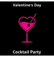 Valentines day cocktail party poster vector image