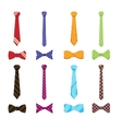 Flat neckties and bow ties icons vector image