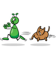 alien and dog cartoon vector image