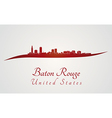 Baton Rouge skyline in red vector image