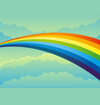 beautiful rainbow in cloudy sky vector image