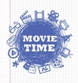 blue movie icon set vector image