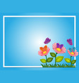border template with flowers and butterflies vector image