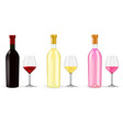 bottles of wine with glasses vector image