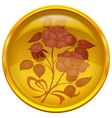 Button with sign of rose bouquet vector image vector image