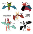 cartoon bat halloween costume collection vector image
