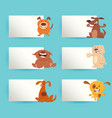 cartoon dogs with cards design elements set vector image