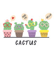 cartoon funny cactus in glasses vector image vector image