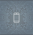 cell smart phone icon over computer chip vector image vector image