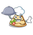 chef with food crepe mascot cartoon style vector image