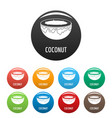coconut icons set color vector image