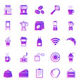 coffee shop gradient icons on white background vector image