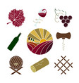 collection of colorful wine icons vector image vector image
