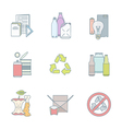 color outline various waste recycle separate vector image vector image