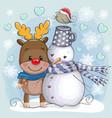 cute christmas deer and snowman vector image
