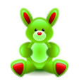 cute green bunny soft toy isolated on white vector image vector image