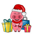 Cute santa pig with gift boxes merry christmas