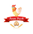 Emblem with Chicken and Red Ribbon vector image vector image