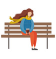 female sitting on bench with coffee in park vector image