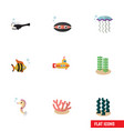 flat icon nature set of seafood algae vector image vector image