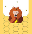 funny bear eat honey from a paw on honeycomb vector image vector image