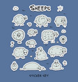 funny sheeps sticker set for your design vector image