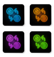 glowing neon cryptocurrency exchange icon vector image vector image