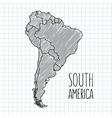 grey pen hand drawn south america map vector image