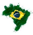 grunge map brazil with brazilian flag vector image