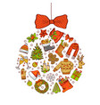 hand drawn colored christmas tree toy made vector image