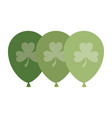 helium green balloons with clover isolated icon vector image vector image