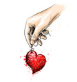 human hand holds red heart hand-drawn sketch vector image