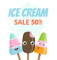 ice cream banner template sale 50 percent with vector image vector image