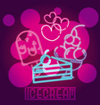 ice cream neon sign vector image vector image