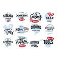 kitchen equipment sale logos set vector image