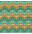 Knitted geometric pattern in orange and green vector image