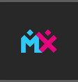 letters mx logo two letters m and x together vector image vector image