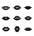 lips black shape icon set vector image vector image