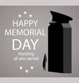 memorial day label with monument honoring all vector image vector image